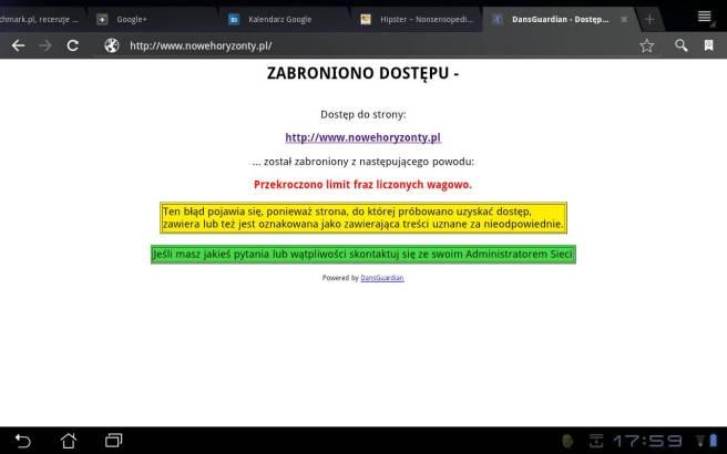 Próba dostępu do strony festiwalu przez oficjalny hotspot miasta Wrocław